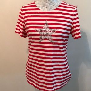 NWOT Red/White Striped Star Embellished Blouse S